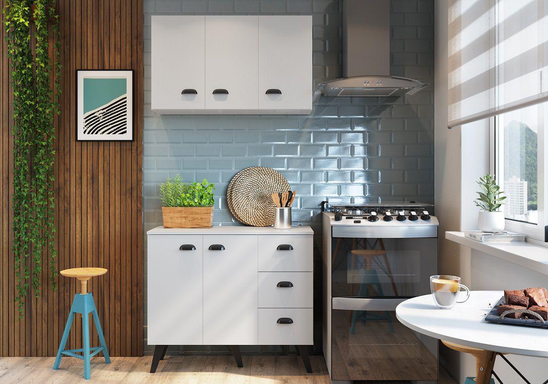 Kit Cozinha com 5 Portas 3 Gavetas Retro Mia Coccina Branco - Art In Moveis
