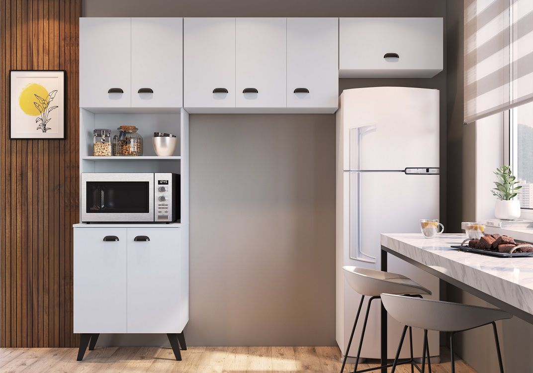 Kit Cozinha com 8 Portas Retro Mia Coccina Branco - Art In Moveis