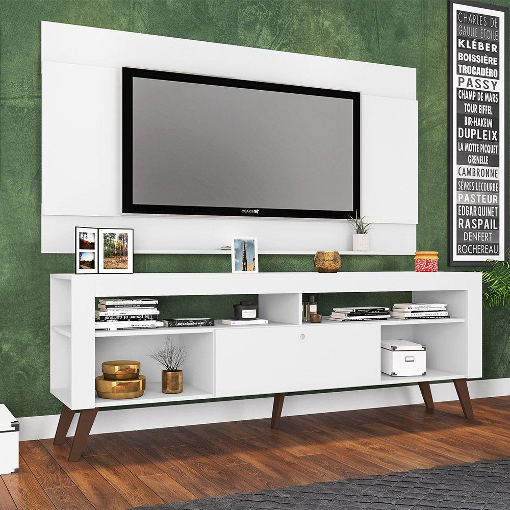 Kit Rack Com Bancada e Painel TV até 70' Itália Branco - Art in Móveis