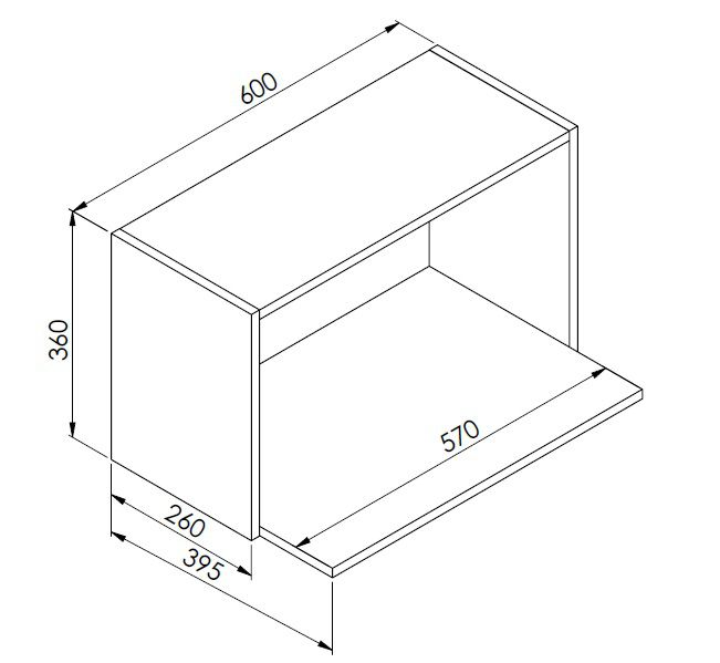 Nicho de Parede Para Microondas Funcionale Preto - Art In Móveis