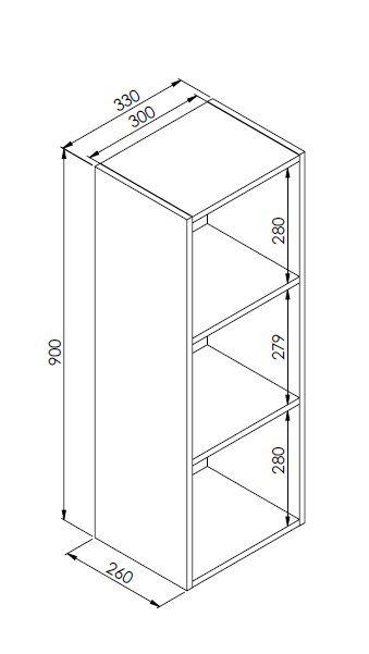 Nicho Vertical Organizador Multiuso Funcionale Preto - Art In Móveis