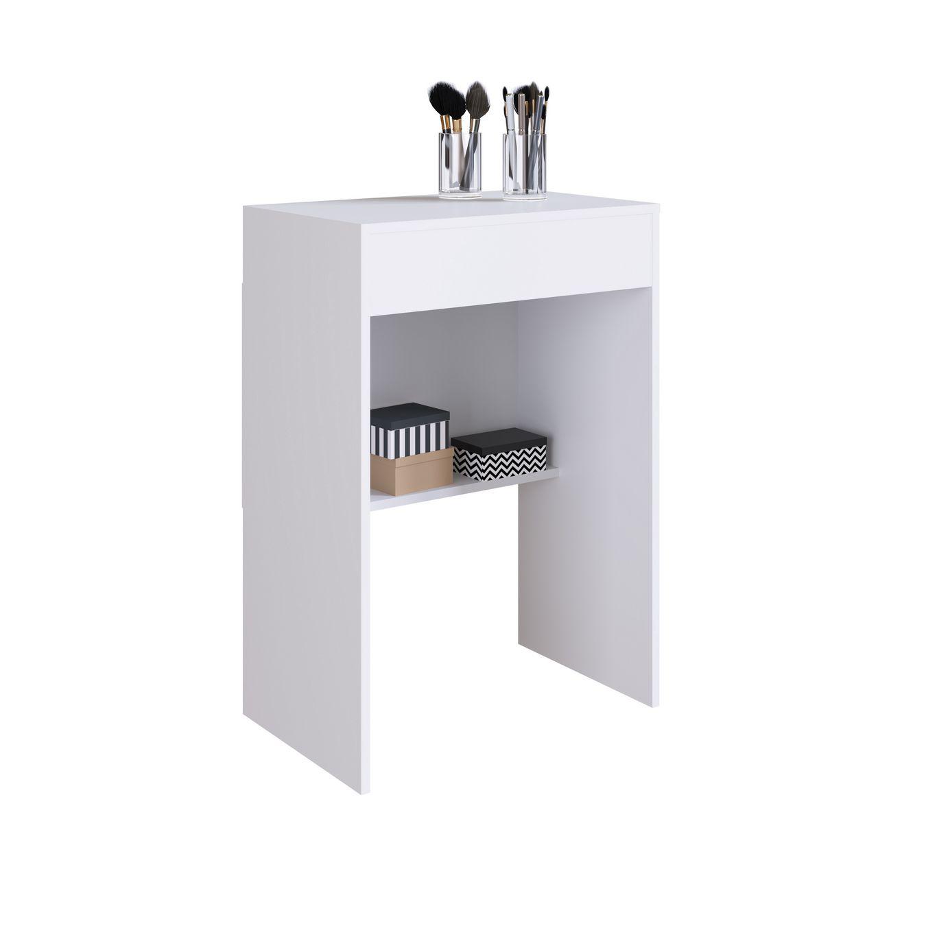 Penteadeira com Espelho Embutido e Banqueta Mimo Branco - Art In Móveis