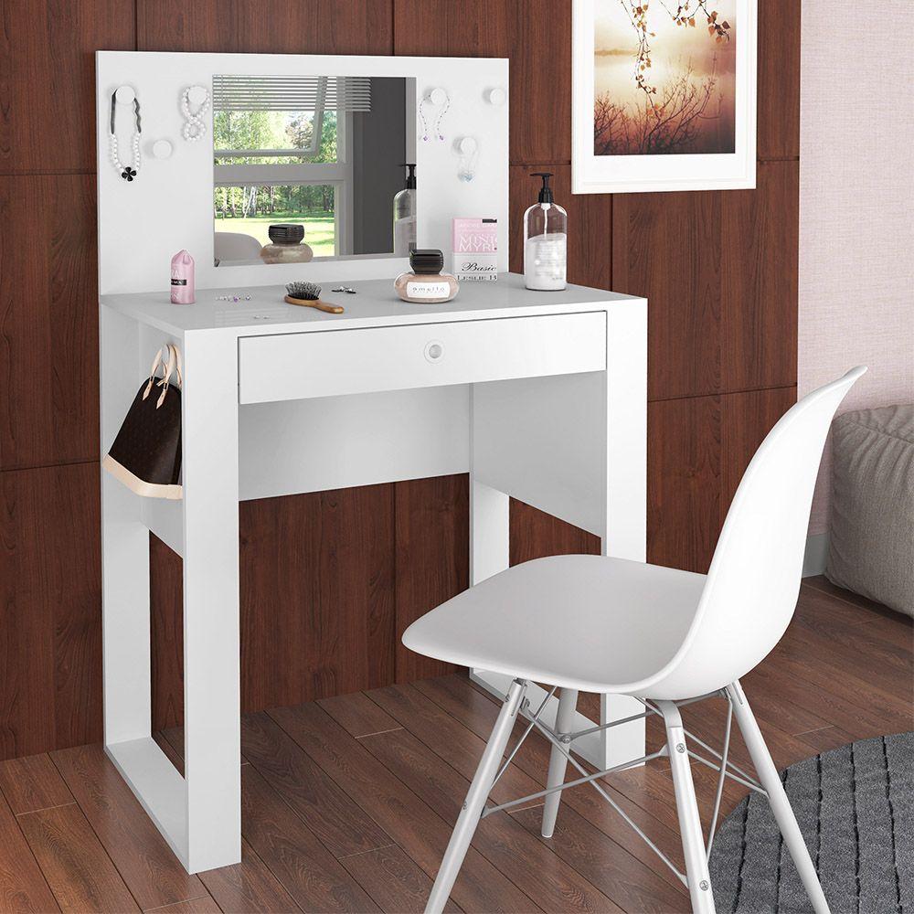 Penteadeira Pluma Quarto Com Espelho Branco - Art In Móveis