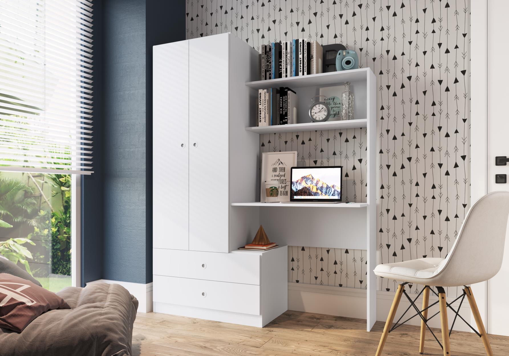 Quarto Compacto com Roupeiro e Estação de Trabalho Ilhéus Branco - Art In Móveis