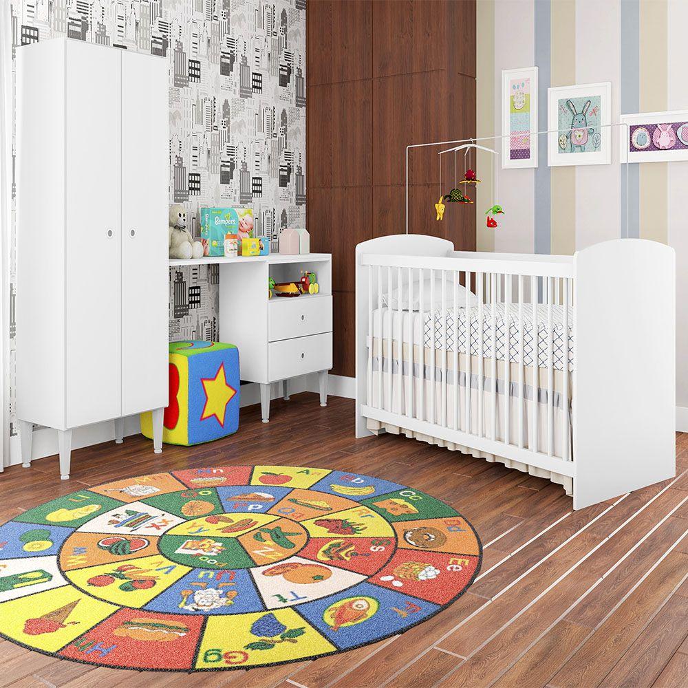 Quarto Infantil Completo Berço e Guarda Roupa com Escrivaninha Aconchego 2 Portas 2 Gavetas Branco - Art In Móveis