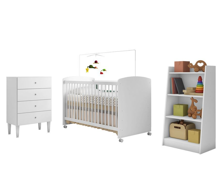 Quarto Infantil Completo Berço com rodízios Cômoda e Estante Branco - Art In Móveis