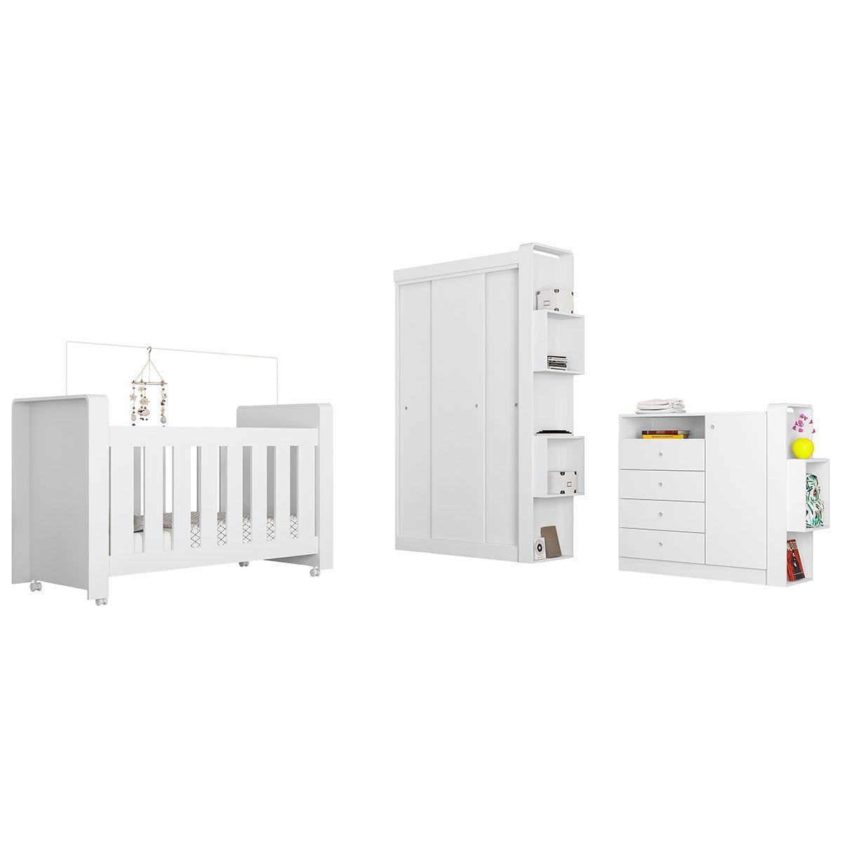 Quarto Infantil Completo Berço Cômoda Guarda Roupa 3 Portas de Correr 1 Kit de Rodízios Doce Cheiro Branco - Art In Móveis