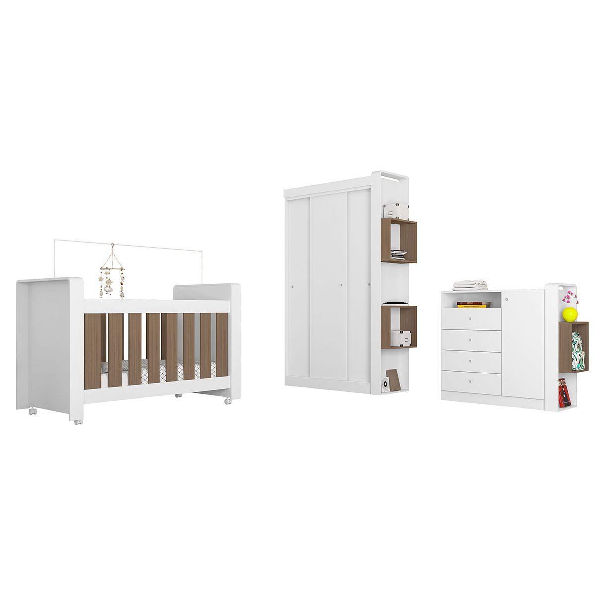 Quarto Infantil Completo Berço Cômoda Guarda Roupa 3 Portas de Correr 1 Kit de Rodízios Doce Cheiro Montana - Art In Móveis