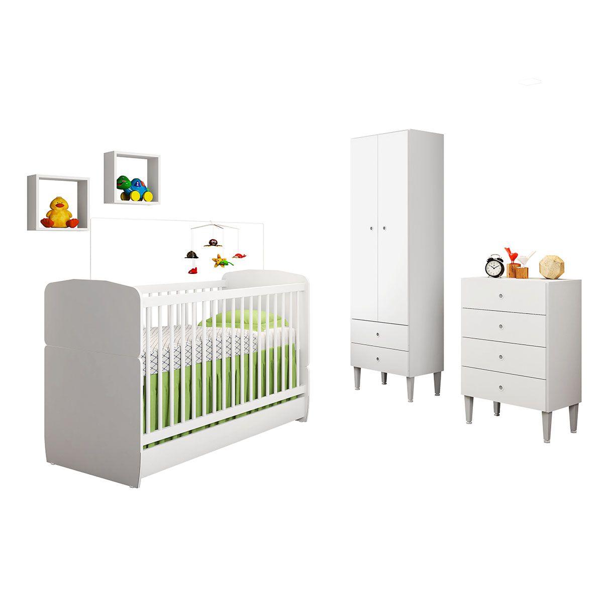 Quarto Infantil Completo Berço com Cama Cômoda 4 Gavetas Guarda Roupa 2 Portas 2 Nicho Docinho Branco - Art In Móveis