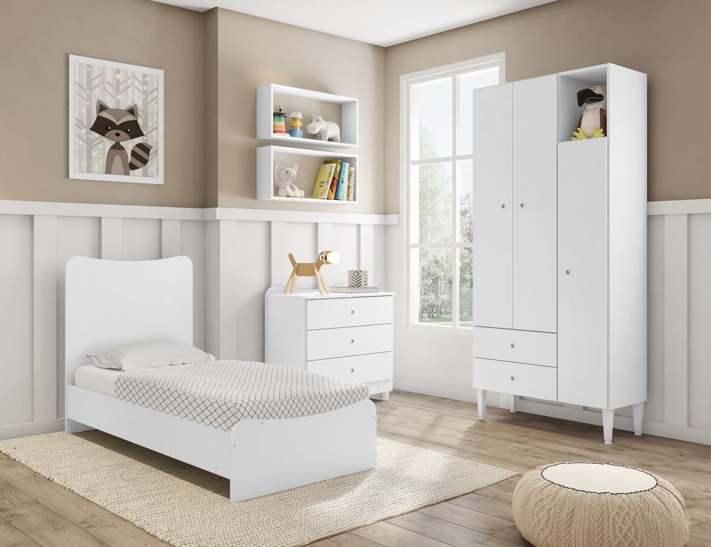Quarto Infantil Completo Berço Guarda Roupa 2 Nichos Grandes Fofinho Branco - Art In Móveis