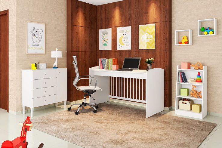 Quarto Infantil Completo Berço Multifuncional 4 X 1 Cômoda 4 Gavetas 1 Porta Estante 4 Prateleiras Nicho Pequeno Ternura Branco - Art In Móveis