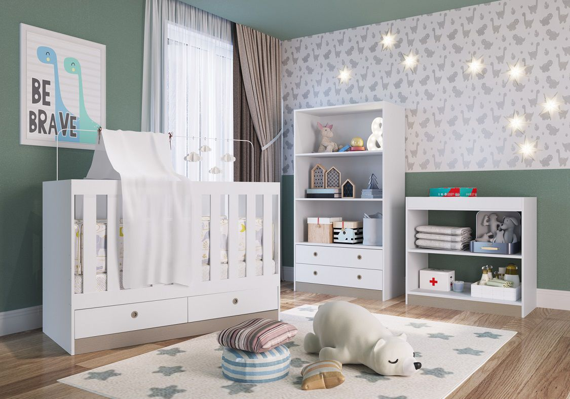 Quarto Infantil Completo com Berço Multifuncional Amore Meu Fofinho Branco - Art In Moveis