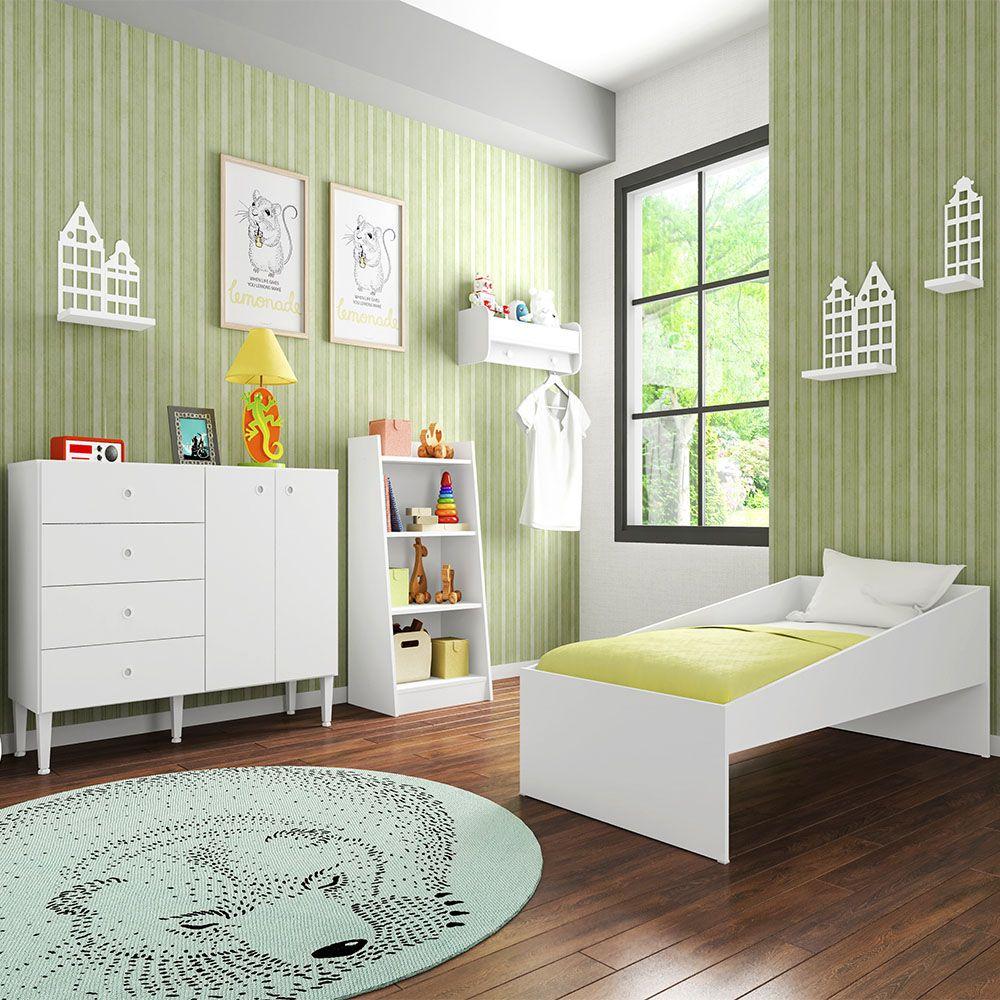 Quarto Infantil Completo Mini Cama Solteiro Cômoda 4 Gavetas 2 Portas Estante 4 Prateleiras Nicho Alegria Branco - Art In Móveis