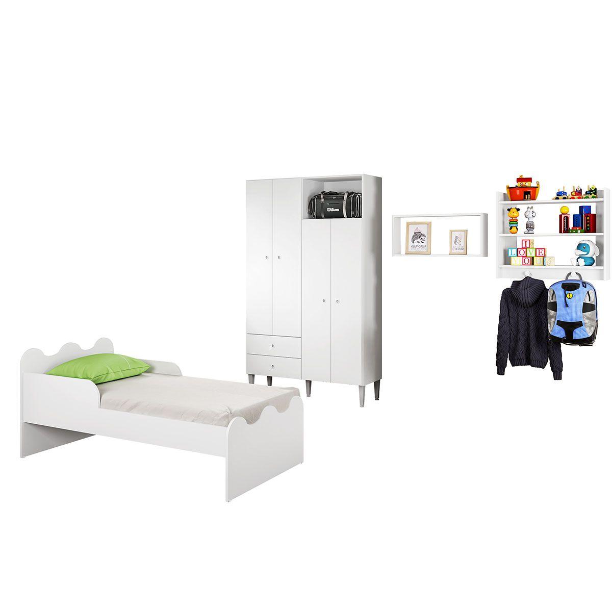 Quarto Infantil Completo Mini Cama Guarda Roupa 4 Portas Estante 3 Prateleiras Nicho Grande Gostosura Branco - Art In Móveis