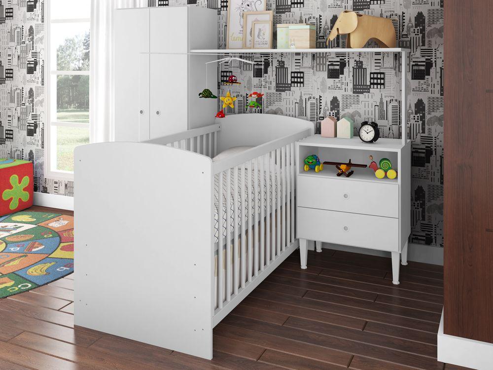 Quarto Infantil Multifuncional Completo Berço com Cama Guarda Roupa 2 Portas Branco - Art In Móveis