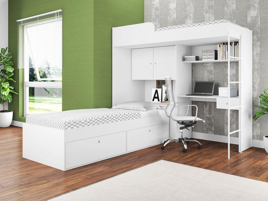 Quarto Juvenil 2 Camas Solteiro Armário 2 Portas Escrivaninha Multifuncional Branco - Art In Móveis