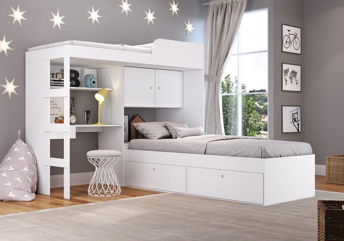 Quarto Juvenil com Cama Solteiro Alta 80 Lion e cama Solteiro 80 Tókio Branco - Art In Móveis