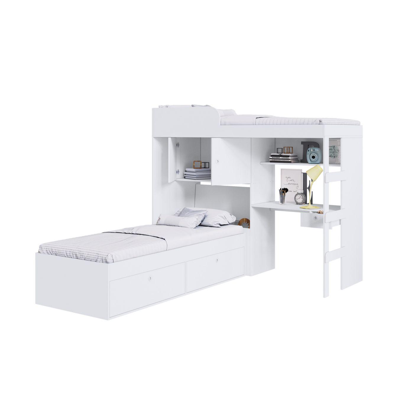 Quarto Juvenil com Cama Alta Lion e cama Tókio Branco - Art In Móveis