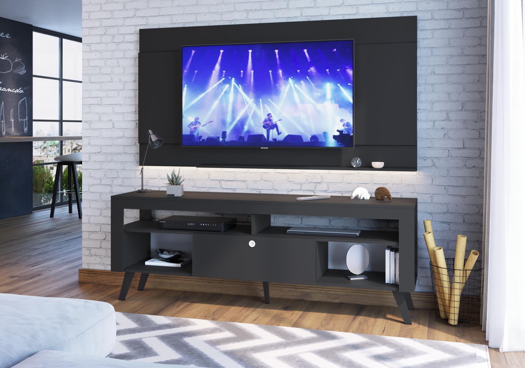 Rack Tv Até 70' Quebec Preto - Art In Moveis