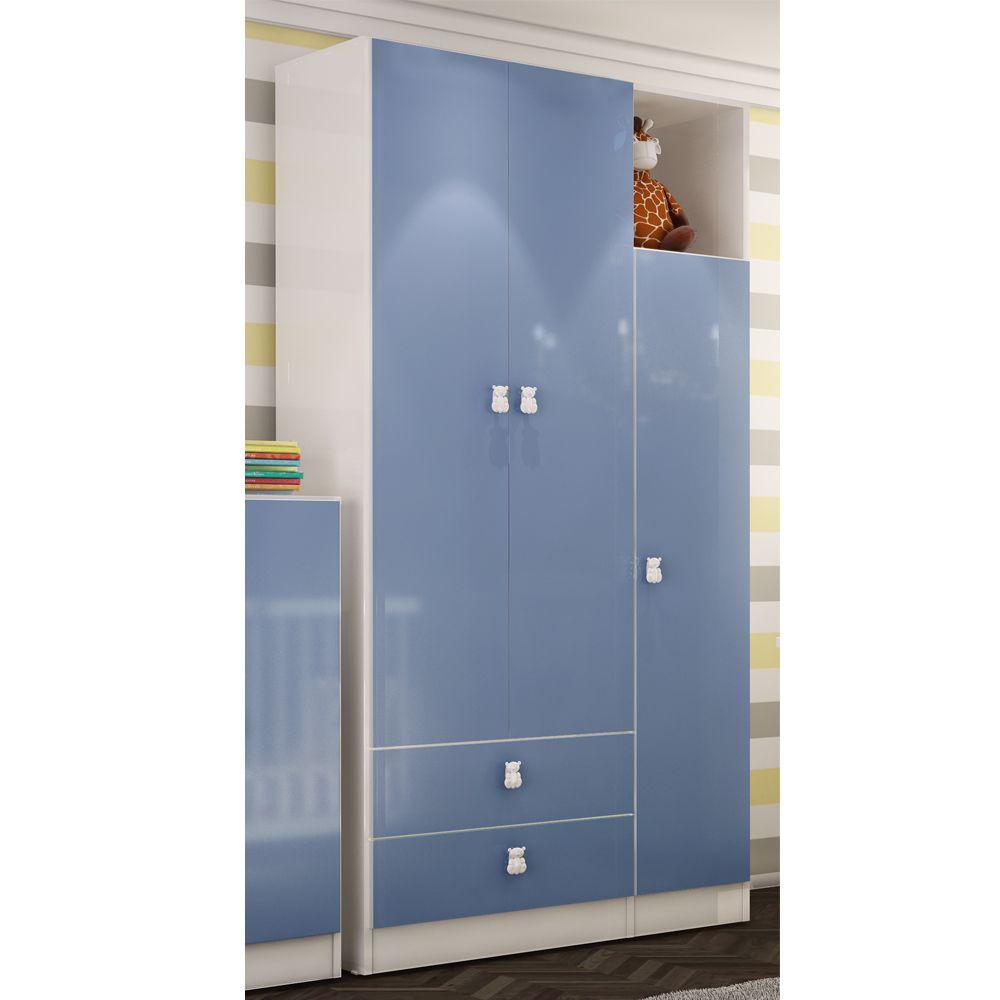 Guarda Roupa Meu Fofinho 3 Portas 2 Gavetas Azul - Art In Móveis