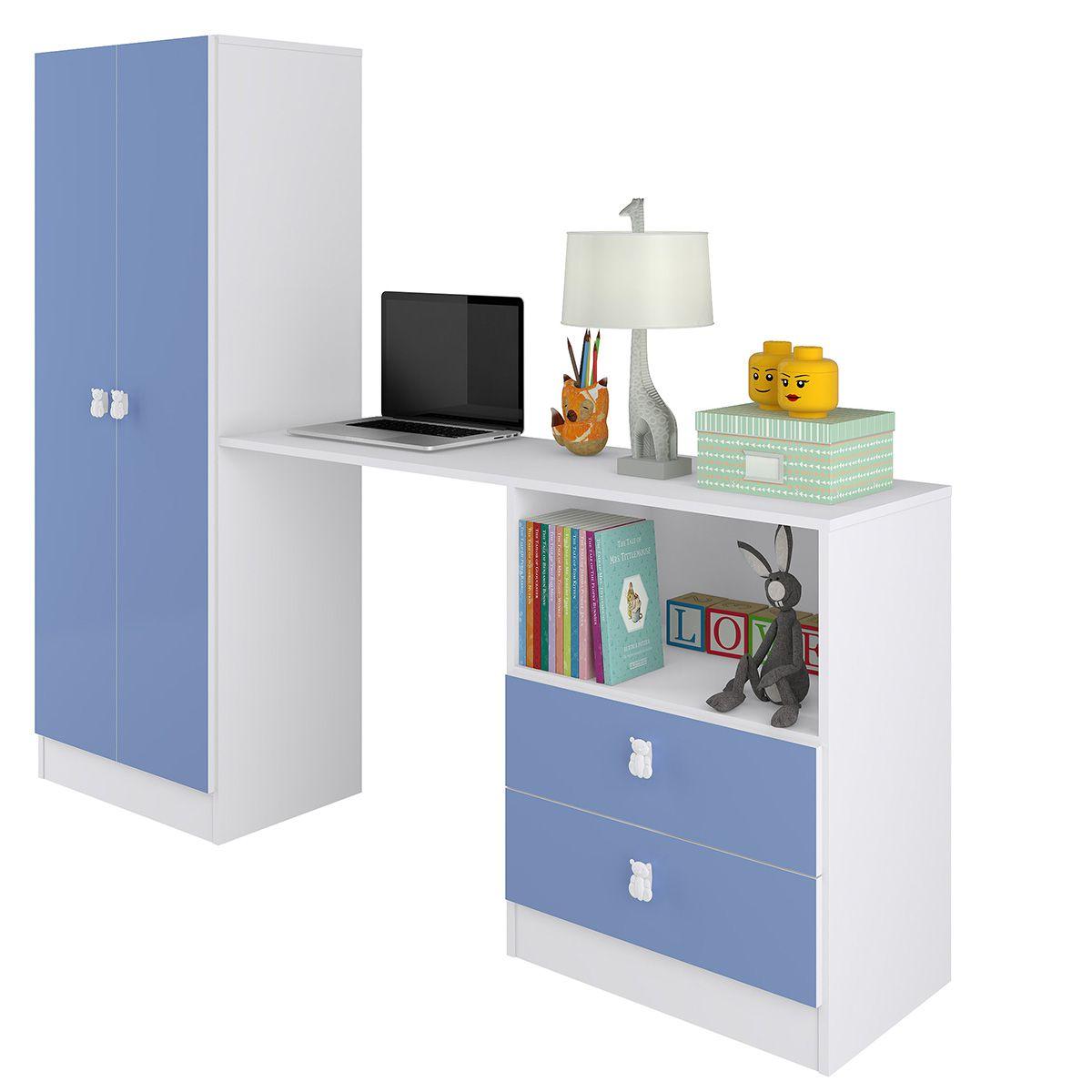 Roupeiro Multifuncional Meu Fofinho 02 Portas 02 Gavetas Azul - Art In Móveis