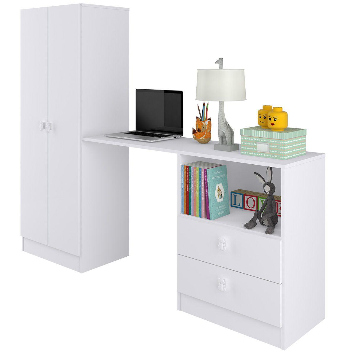 Roupeiro Multifuncional Meu Fofinho 02 Portas 02 Gavetas Branco - Art In Móveis