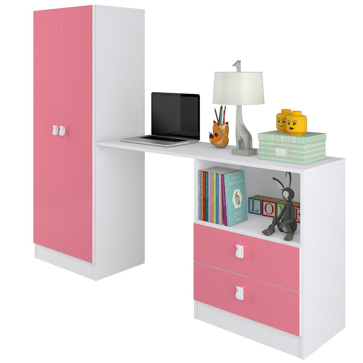 Roupeiro Multifuncional Meu Fofinho 02 Portas 02 Gavetas Rosa - Art In Móveis
