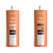 COMBO Escova Progressiva Oliva e Hibisco em Gel + Shampoo Preparador