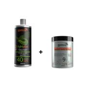 COMBO Pó Descolorante Branco 9 tons + Creme Oxidante Estabilizado 40 volumes