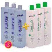 COMBO Profissional - 3 Escova Progressiva PLATINUM + 3 Shampoo Anti Resíduo Ctim - GRÁTIS