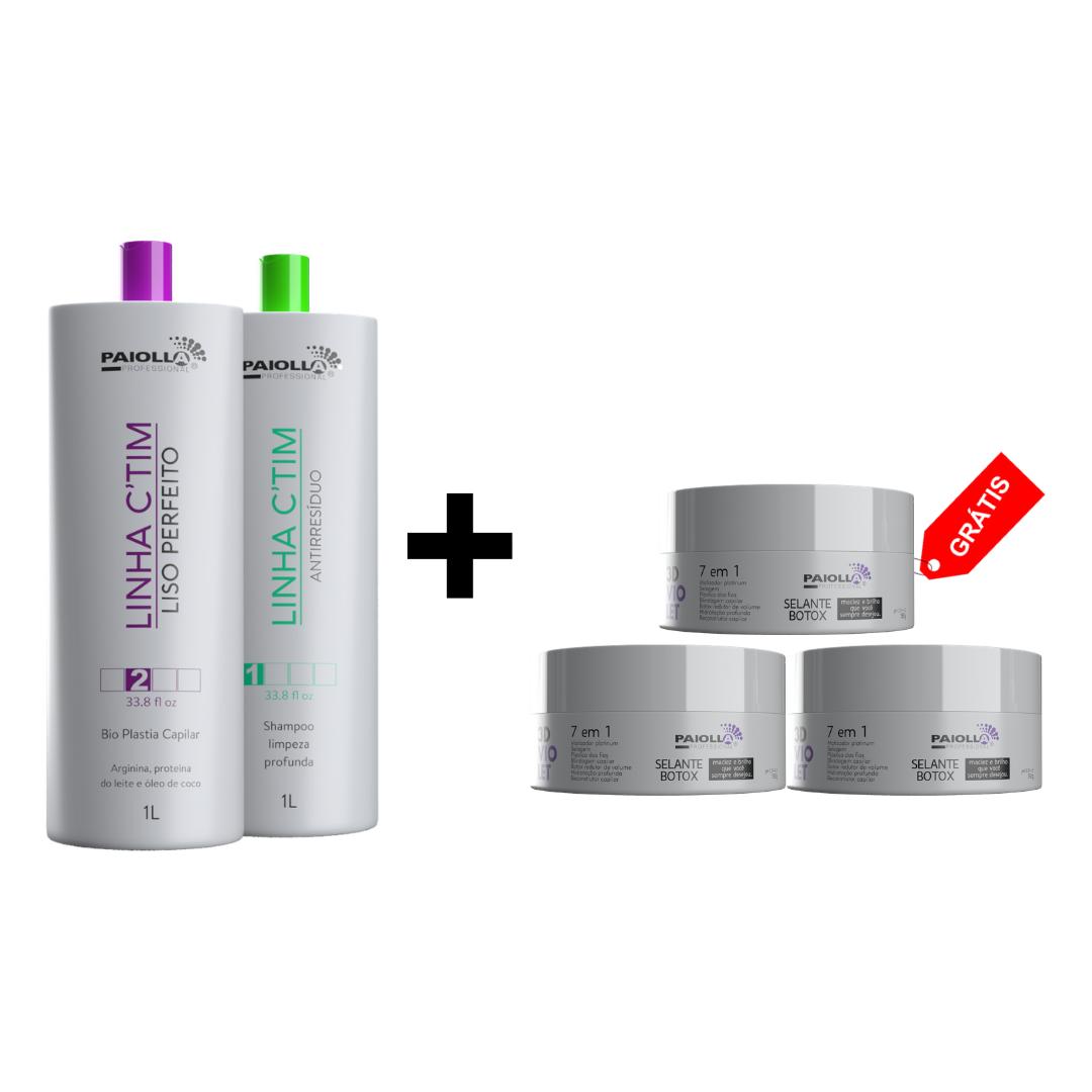 COMBO 1 Kit Progressiva Ctim 1L + 1 Shampoo + 3 Botox Violet 3D 150g