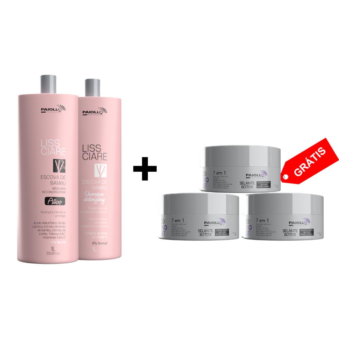 COMBO 1 Kit Progressiva Liss Ciare Bambu 1L + 1 Shampoo + 3 Botox Violet 3D 150g