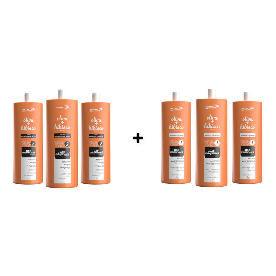 COMBO 3 Gloss Reconstrutor Oliva e Hibisco em gel + 3 shampoo preparador