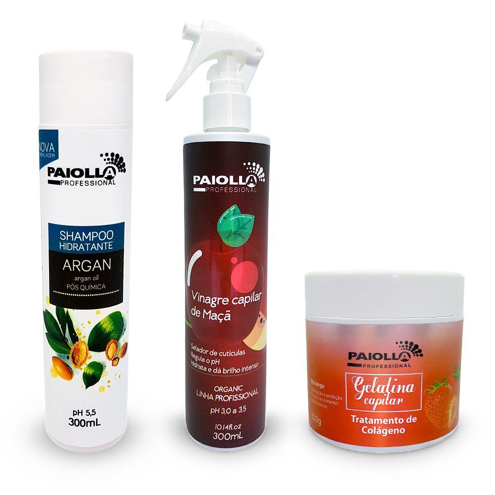 COMBO Fortalecimento Capilar - Shampoo + Gelatina + Vinagre Capilar