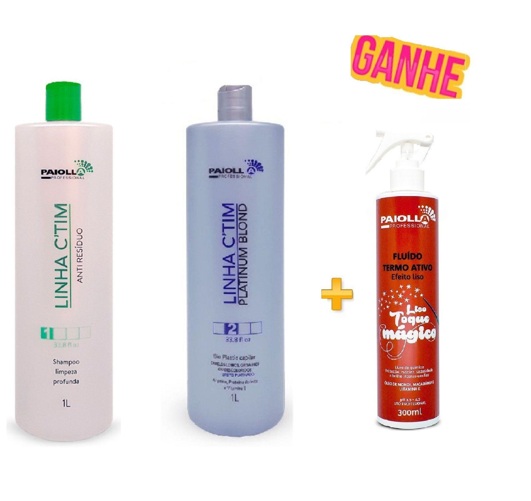 COMBO Escova Progressiva Ctim Platinum + Shampoo + Fluído Liso Toque Mágico 300ml