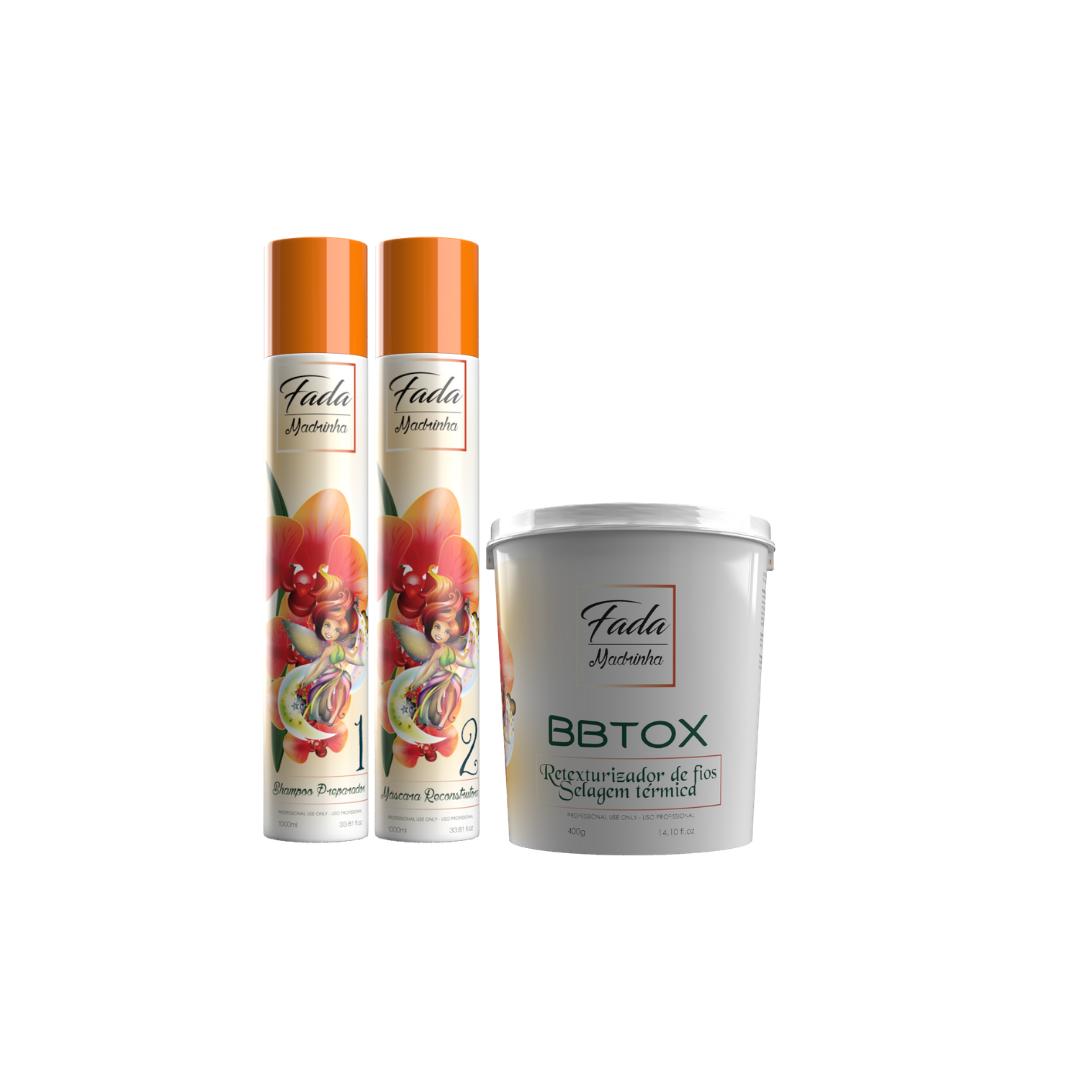 COMBO Escova Progressiva Fada Madrinha 1l + Shampoo 1L + Retexturizador Botox 400g