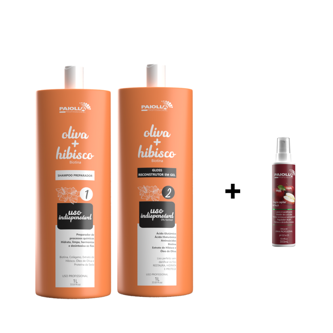 COMBO Escova Progressiva Oliva e Hibisco em Gel + Shampoo Preparador + Vinagre Capilar de Maçã