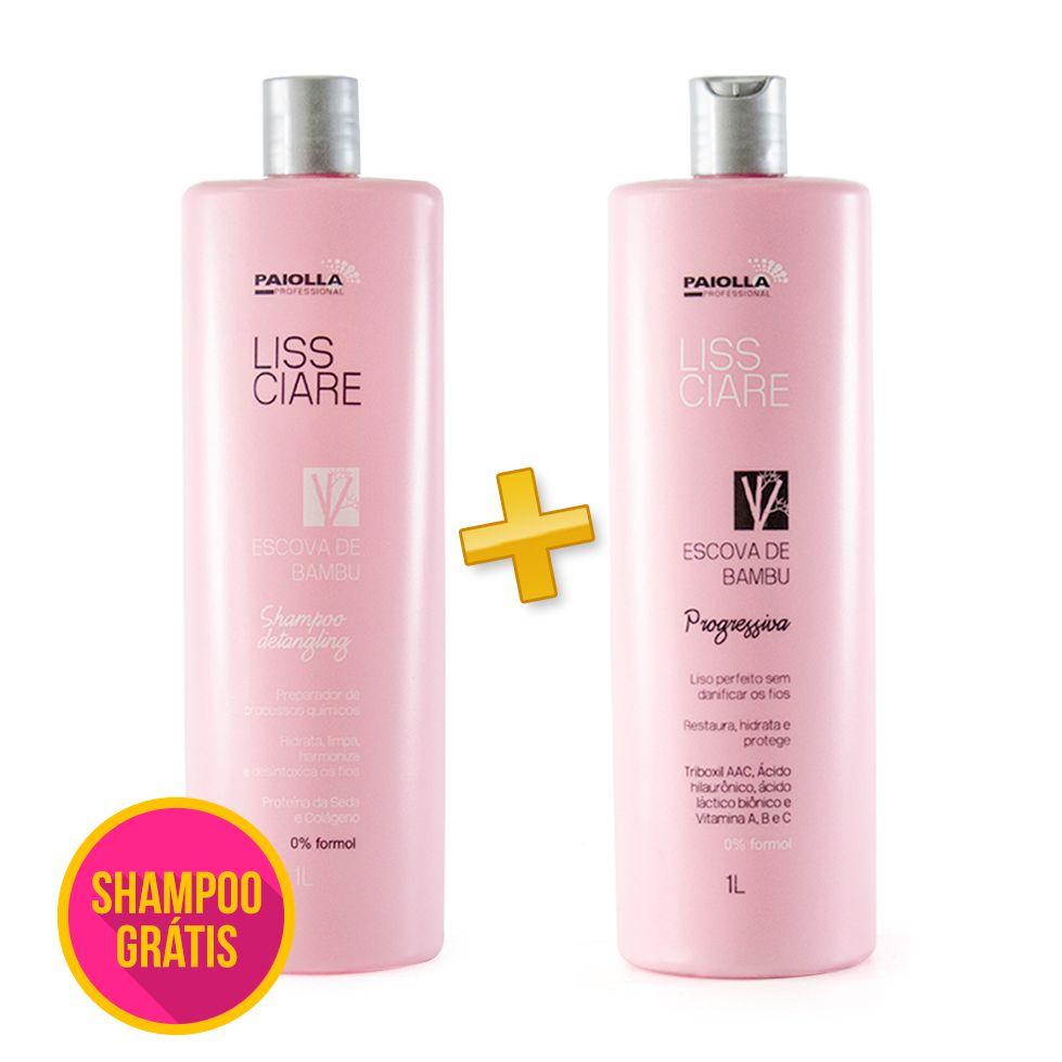 Escova Progressiva Liss Ciare BAMBU - Sem formol + Shampoo GRÁTIS