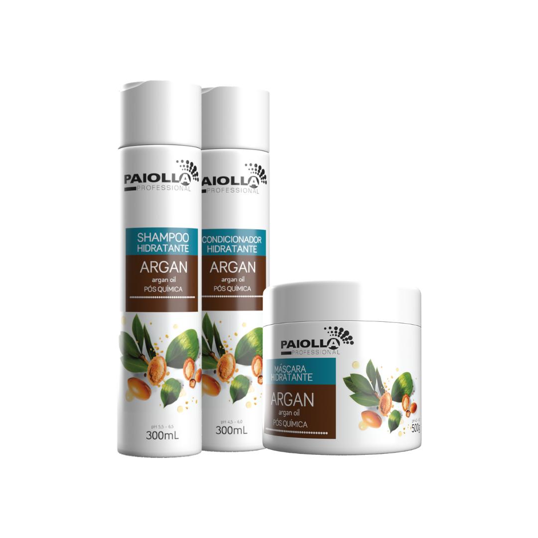 COMBO Hidratação Pós-química Shampoo Argan 300ml + Máscara Argan 500g + Condicionador Argan 300ml