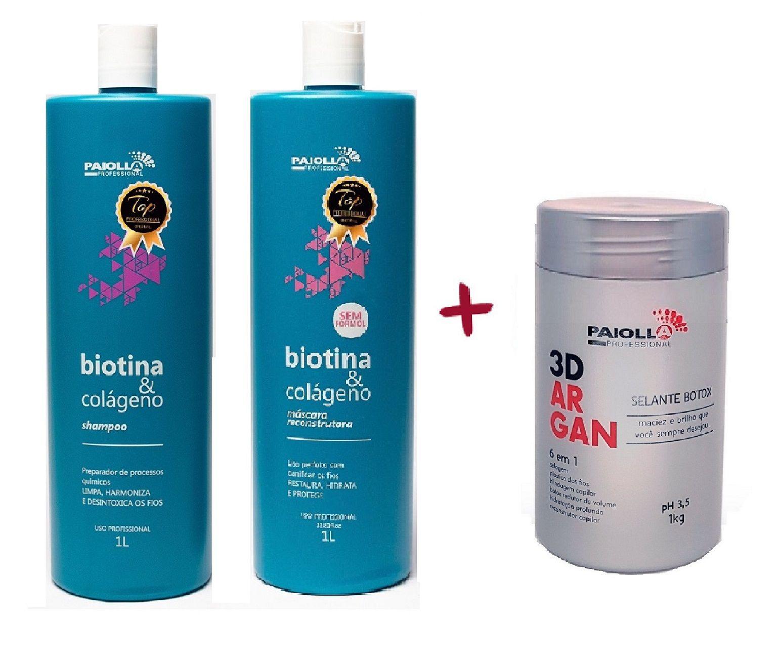 COMBO Kit Escova Progressiva Biotina e Colágeno + Selante Botox 3D Argan