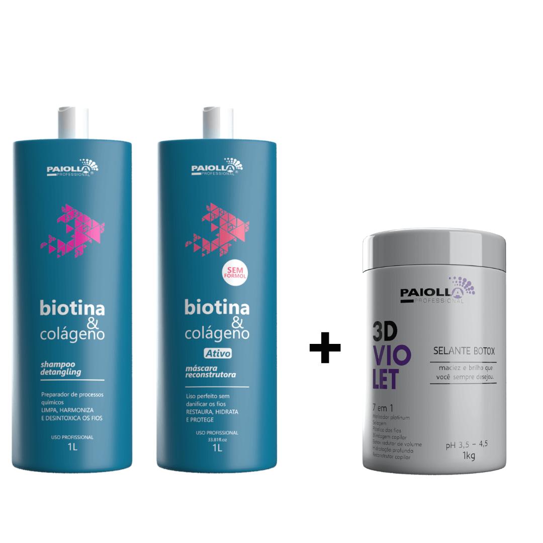 COMBO Kit Escova Progressiva Biotina e Colágeno + Selante Botox 3D Violet