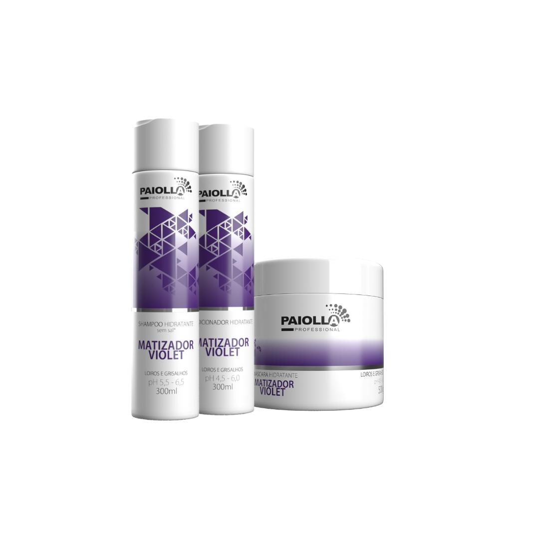 COMBO para matização Shampoo Violet 300ml + Máscara Violet 500g + Condicionador Violet 300ml