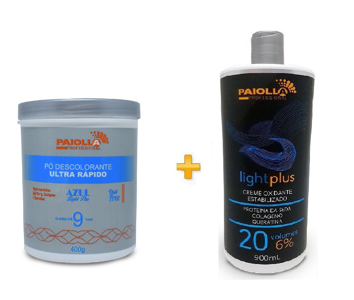 COMBO Pó Descolorante Azul 9 tons + Creme Oxidante Estabilizado 20 volumes