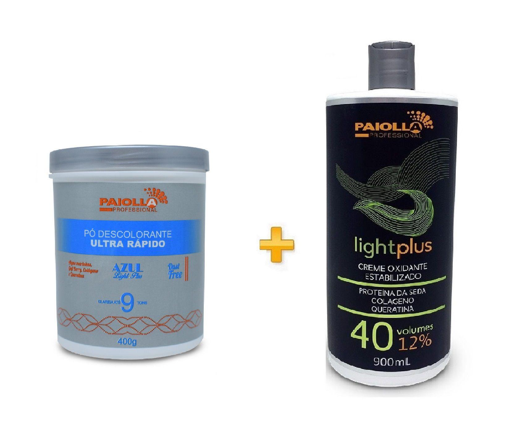 COMBO Pó Descolorante Azul 9 tons + Creme Oxidante Estabilizado 40 volumes