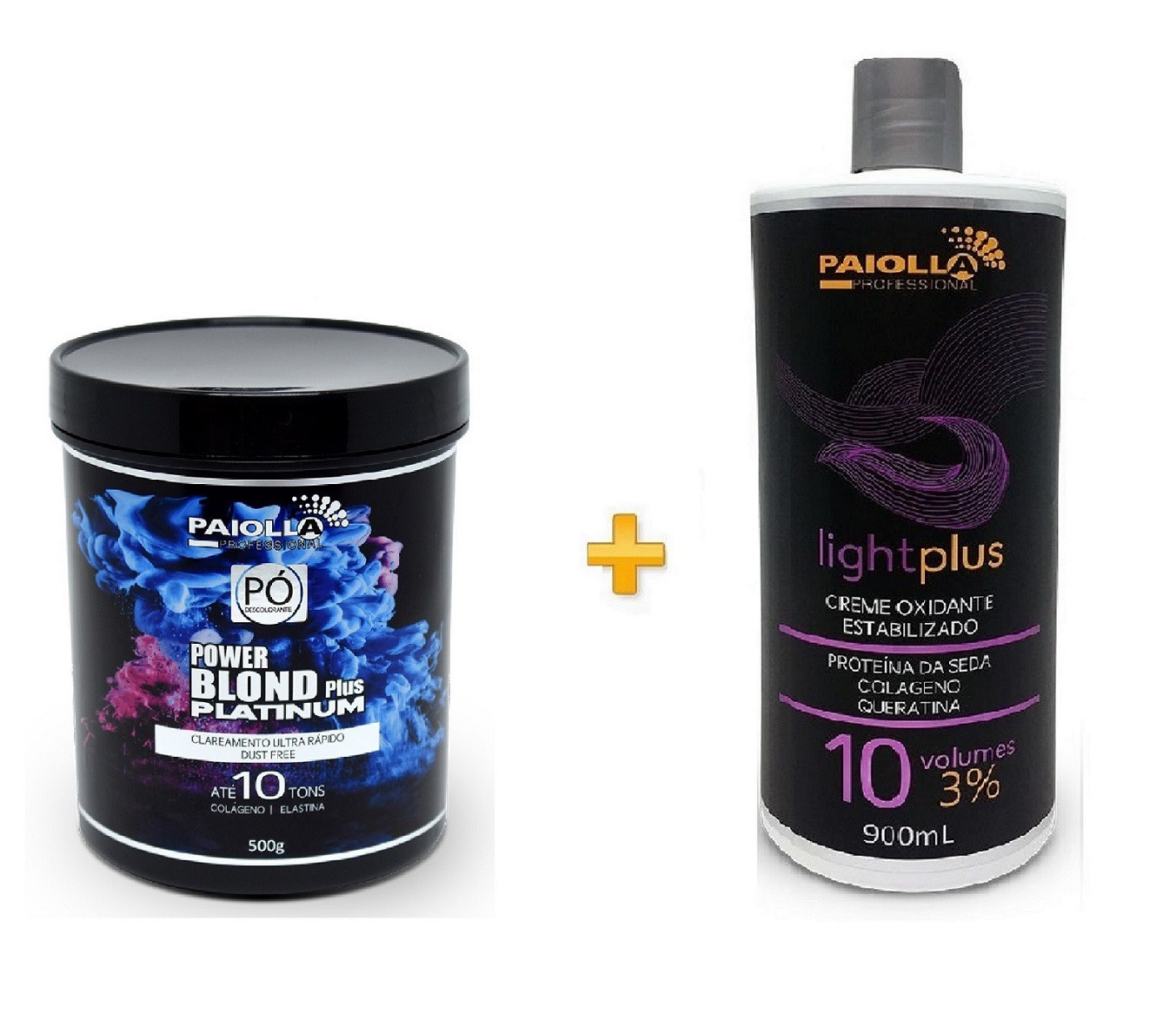 COMBO Pó Descolorante Power Blond Plus Platinum 500g + Creme Oxidante Estabilizado 10 volumes