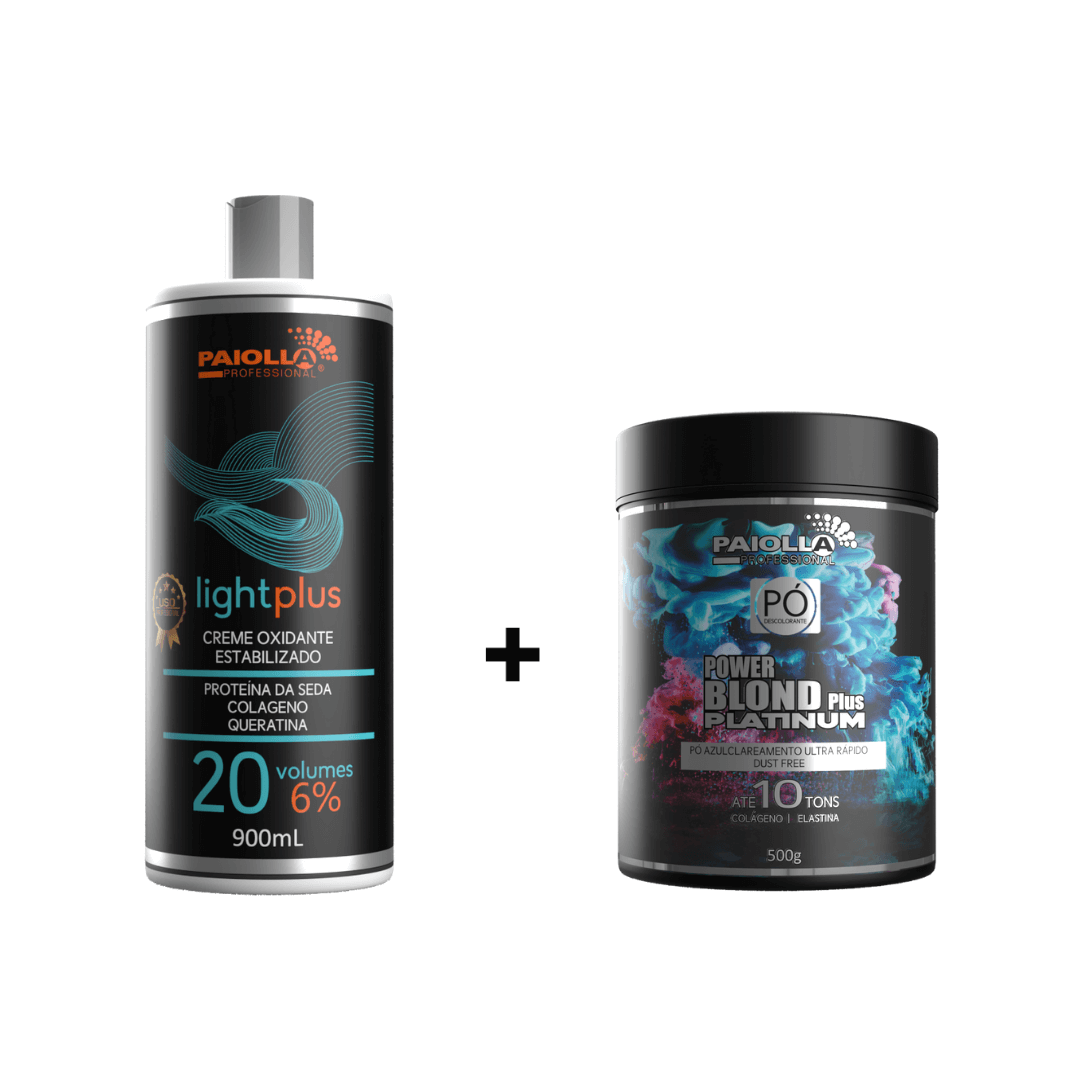 COMBO Pó Descolorante Power Blond Plus Platinum 500g + Creme Oxidante Estabilizado 20 volumes