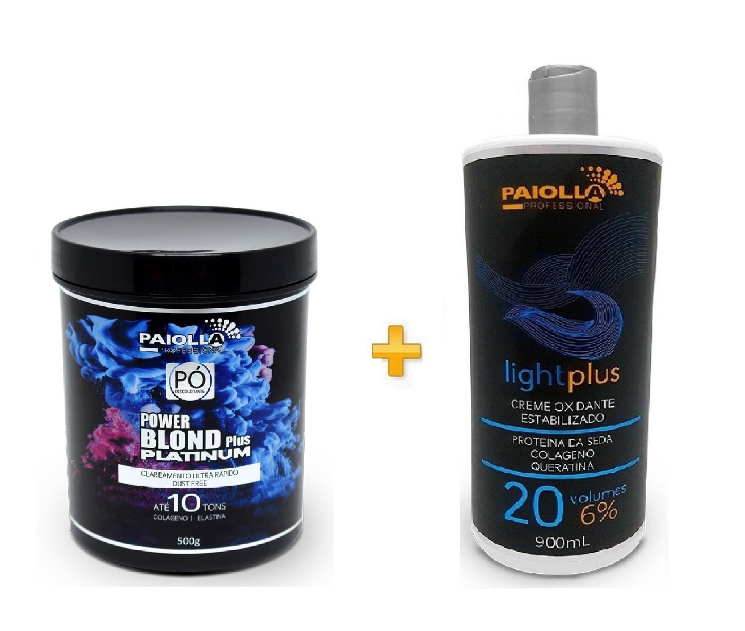 COMBO Pó Descolorante Power Blond Plus Platinum 500g + Creme Oxidante Estabilizado 20 volumes