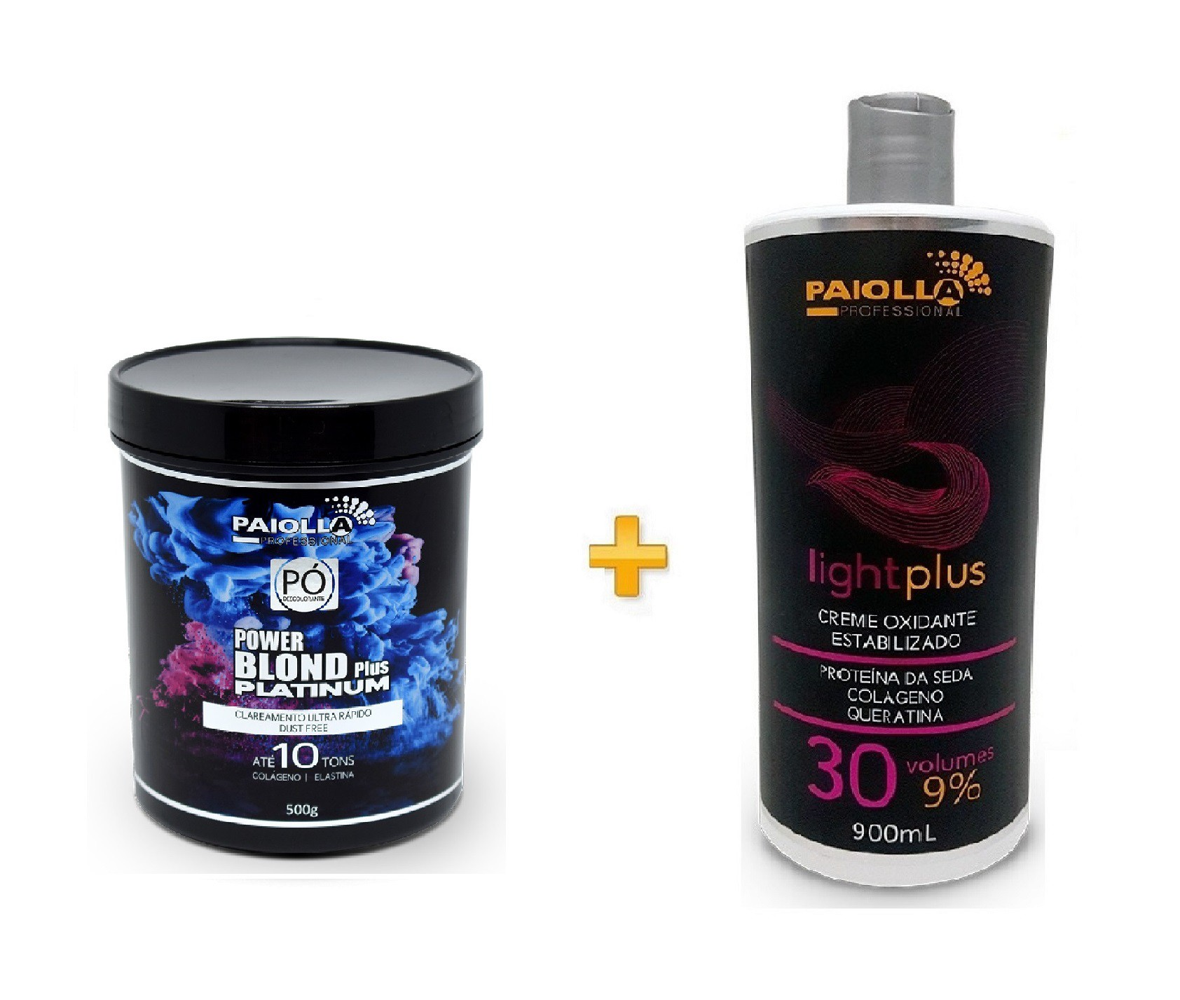 COMBO Pó Descolorante Power Blond Plus Platinum 500g + Creme Oxidante Estabilizado 30 volumes