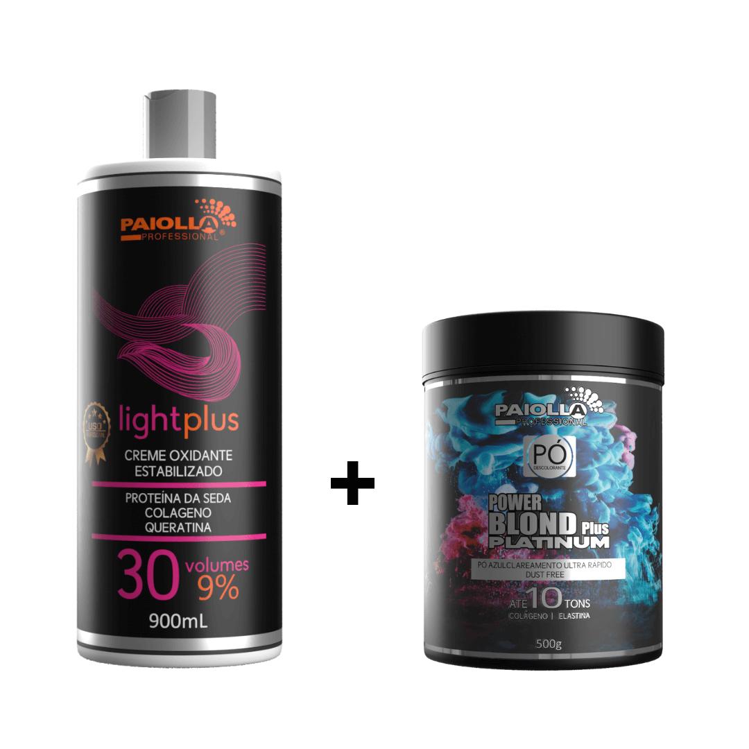COMBO Pó Descolorante Power Blond Plus Platinum 500g + Creme Oxidante Estabilizado 30 volumes 900ml