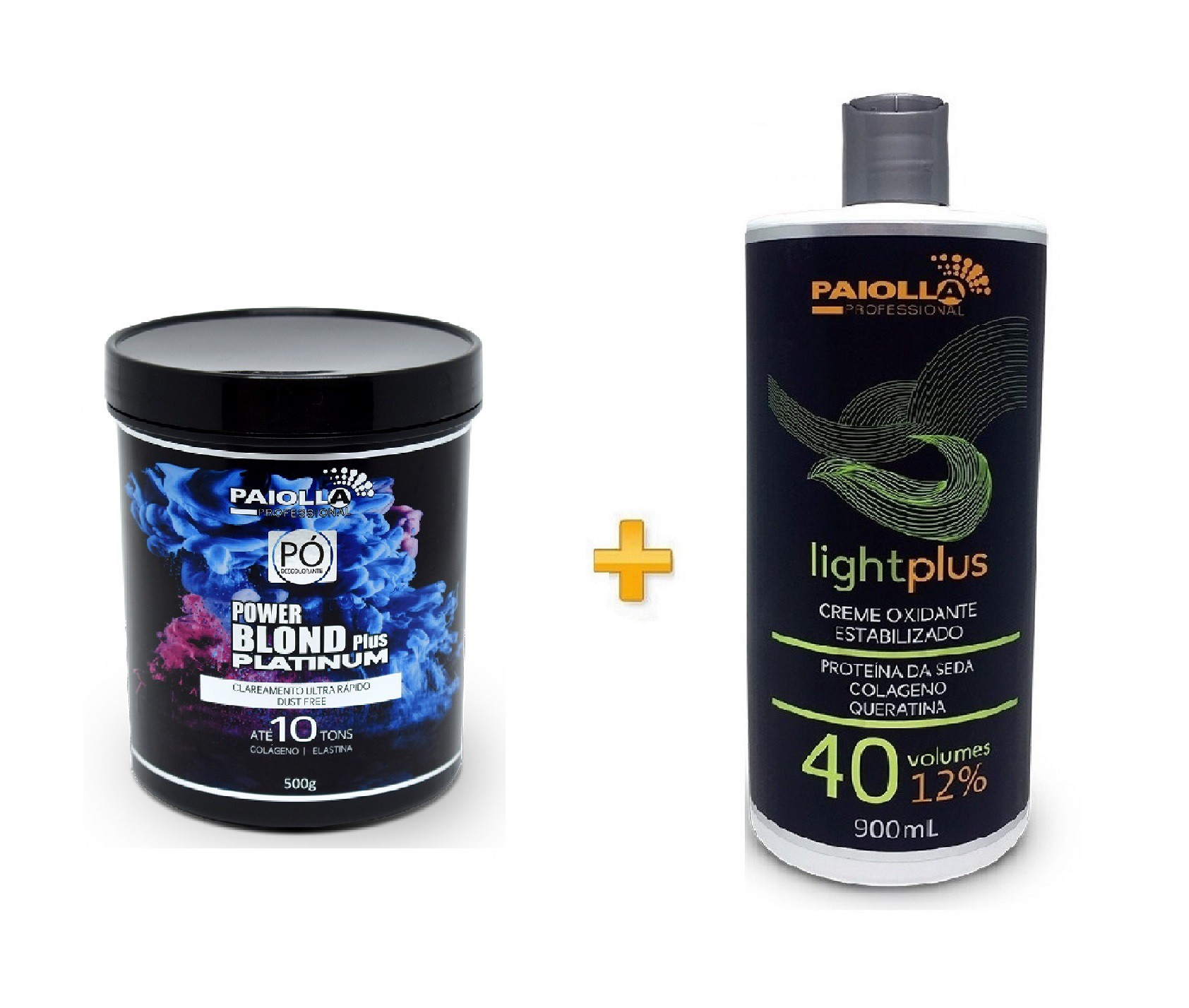 COMBO Pó Descolorante Power Blond Plus Platinum 500g + Creme Oxidante Estabilizado 40 volumes